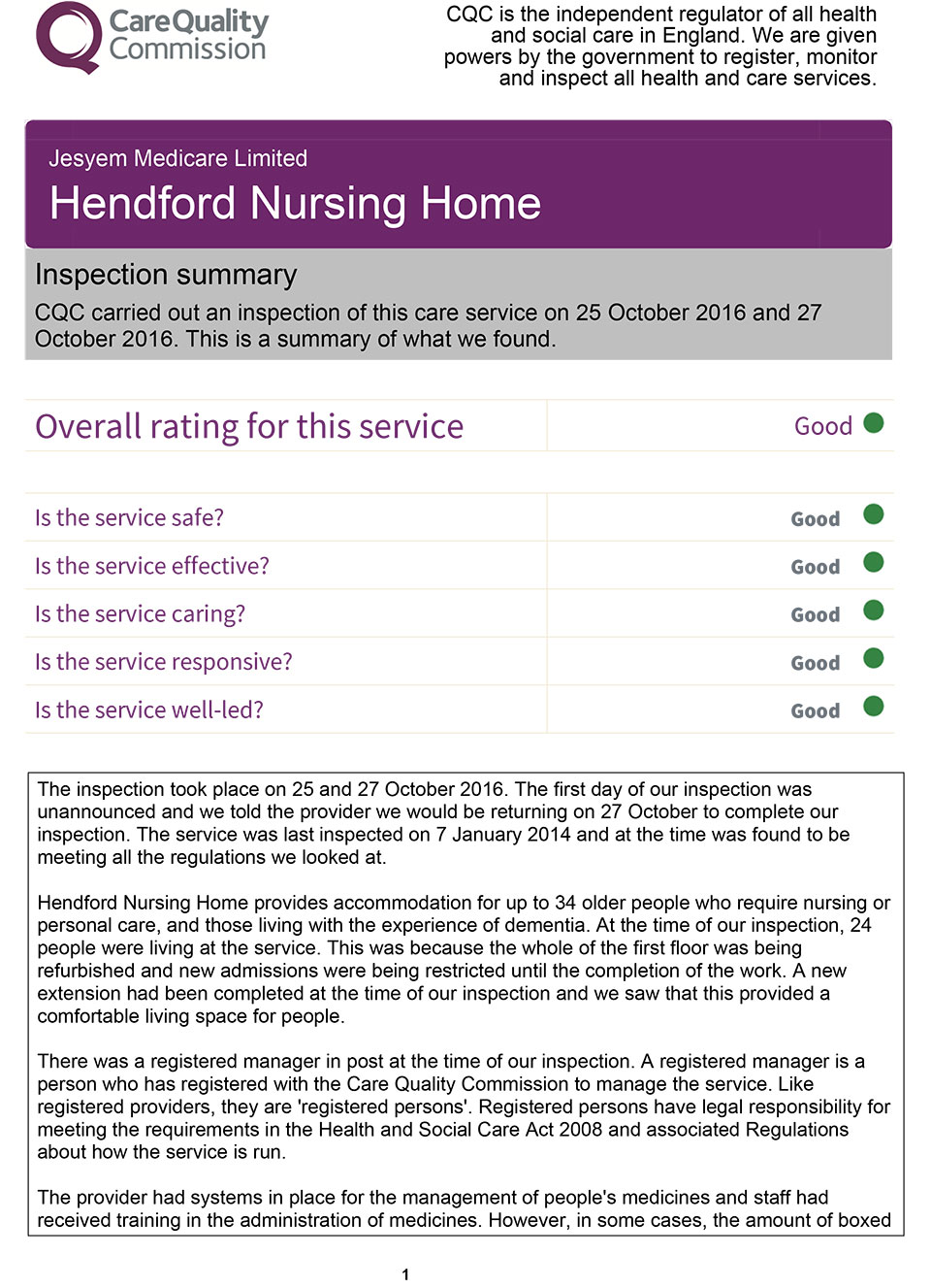 Hendford Nursing Home - Care Quality Commission Inspection Report Summary